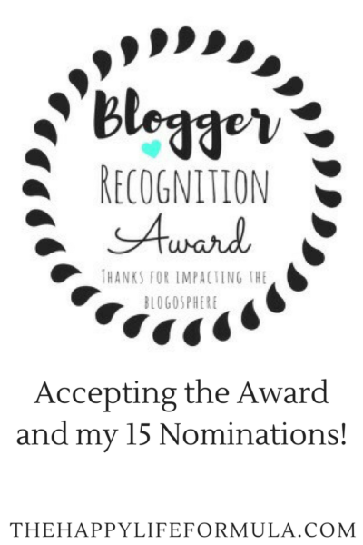 Accepting the Blogger Recognition Award (a happiness boost!)