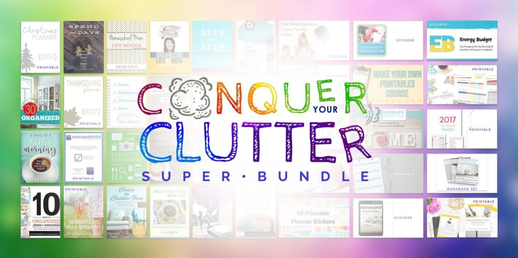 I love this super bundle of resources to help me stay organized and conquer my clutter! Click through to learn more how you can grab this bundle today.