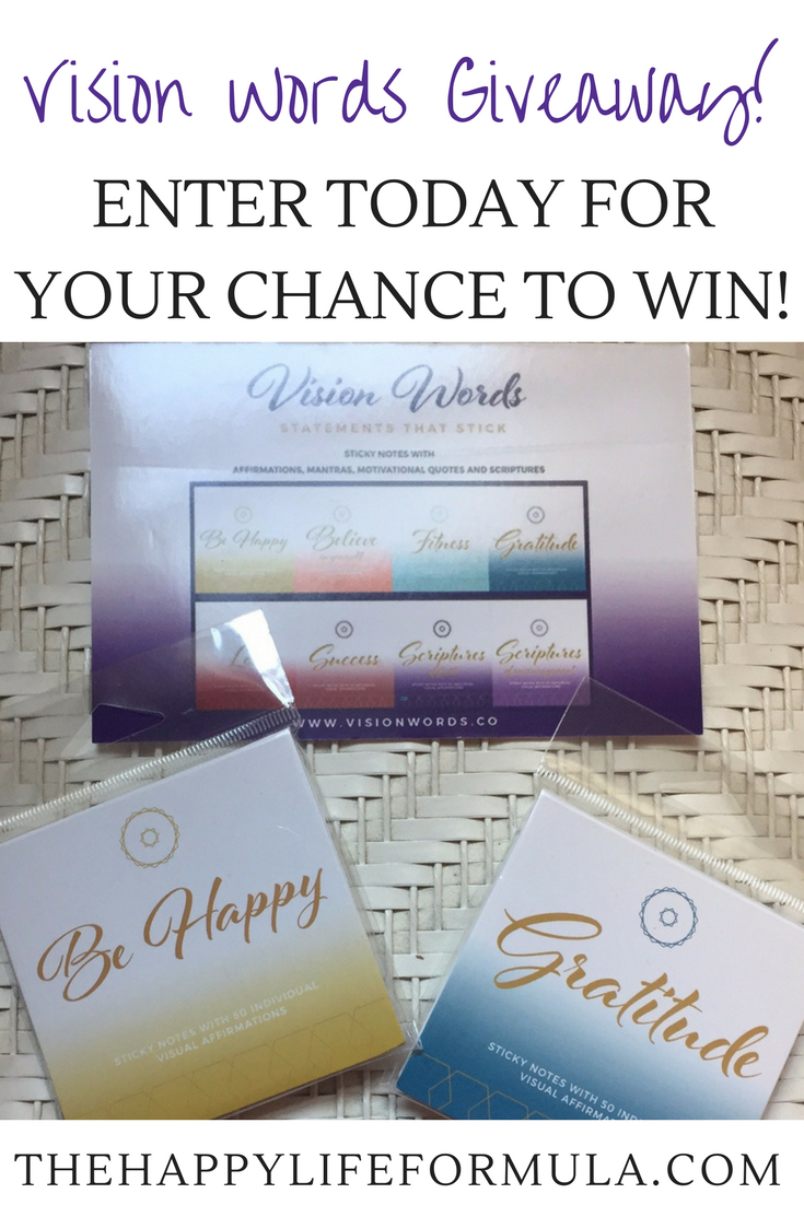 Enter to win these inspiring sticky note pads thanks to Vision Words! These notes will inspire you to be happy and grateful every day!